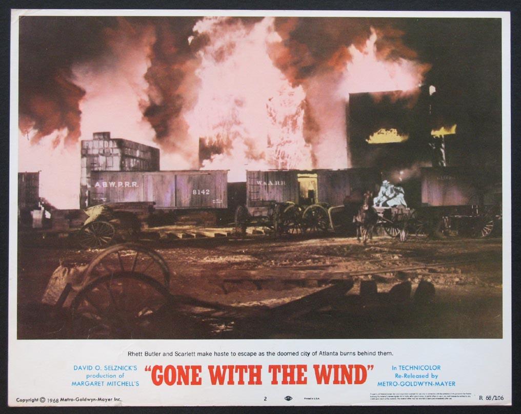 GONE WITH THE WIND ATLANTA BURNING R'68 LOBBY CARD 2 | eBay