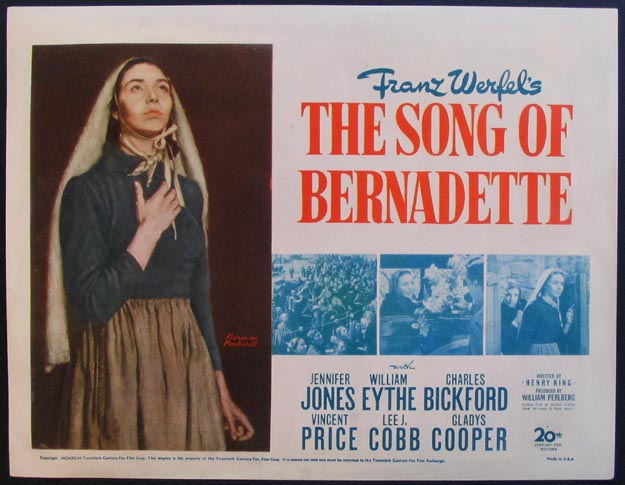 1943 Film Poster for The Song of Bernadette