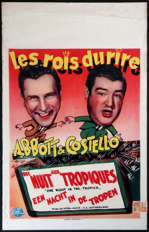 ONE NIGHT IN THE TROPICS (Abbott and Costello debut) @ FilmPosters.com