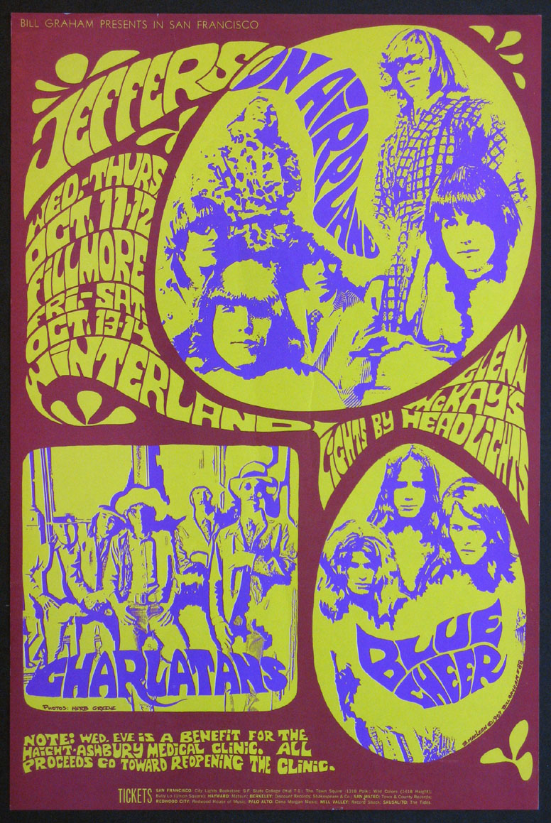 JEFFERSON AIRPLANE CHARLATANS BLUE CHEER VINTAGE CONCERT POSTER @ FilmPosters.com