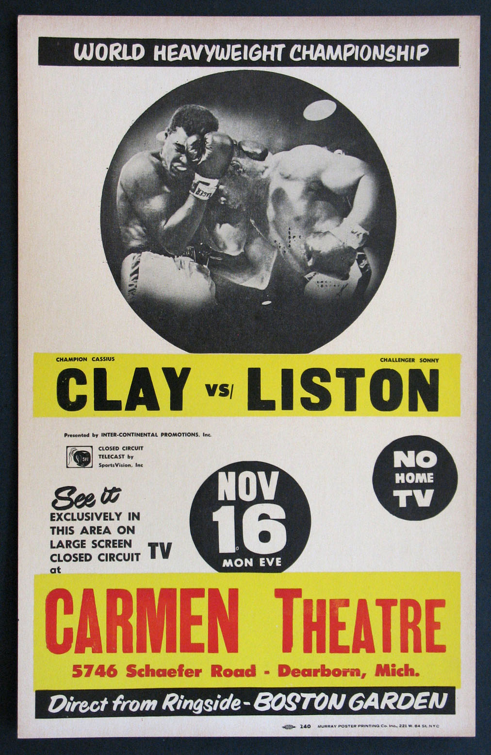 422db4ef CASSIUS CLAY VS. SONNY LISTON VINTAGE HEAVYWEIGHT BOXING FIGHT POSTER Movie  Poster (1964)