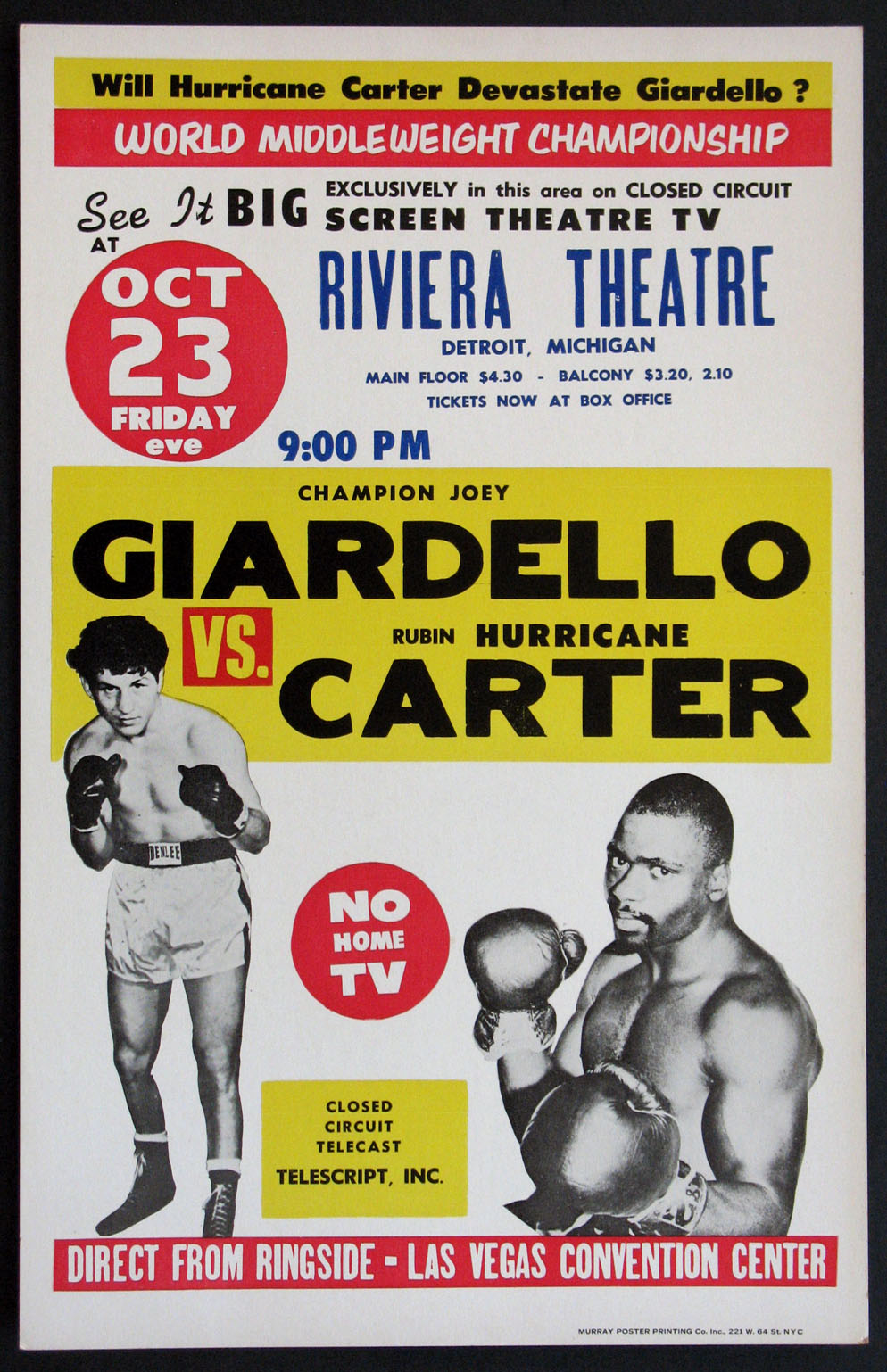 JOEY GIARDELLO VS. RUBIN HURRICANE CARTER VINTAGE MIDDLEWEIGHT BOXING FIGHT POSTER @ FilmPosters.com
