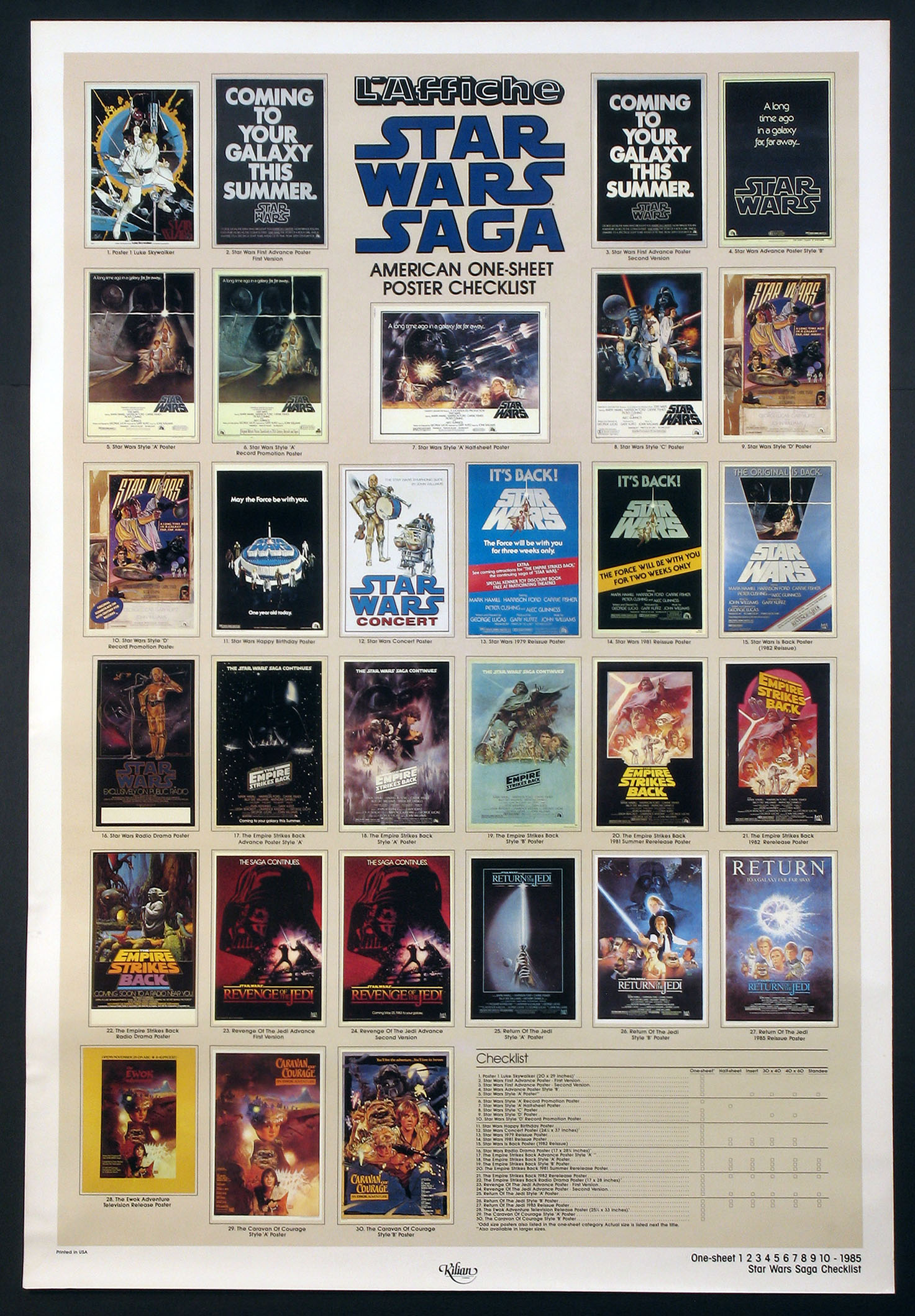 STAR WARS - KILIAN CHECKLIST POSTER @ FilmPosters.com